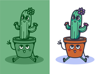Cute cactus and flower pot