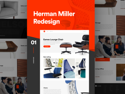 Herman Miller Homepage ecommerce website landing interaction clean minimal flat typography furniture ux ui web