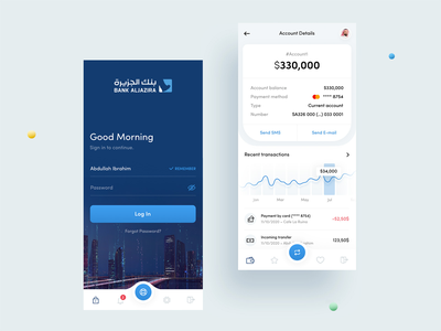 Bank App ui design bank account details balance banking bank app application saudi arabia minimal ux design clean ui app
