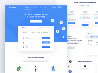 TableBooker Landing page startup clean blue table booking landign page