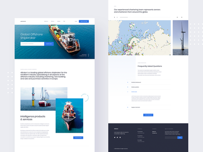 vBroker - Global Offshore Shipbroker sea ocean radar search map wordpress landing page broker boat ship minimal webdesign desktop ux clean web design ui homepage