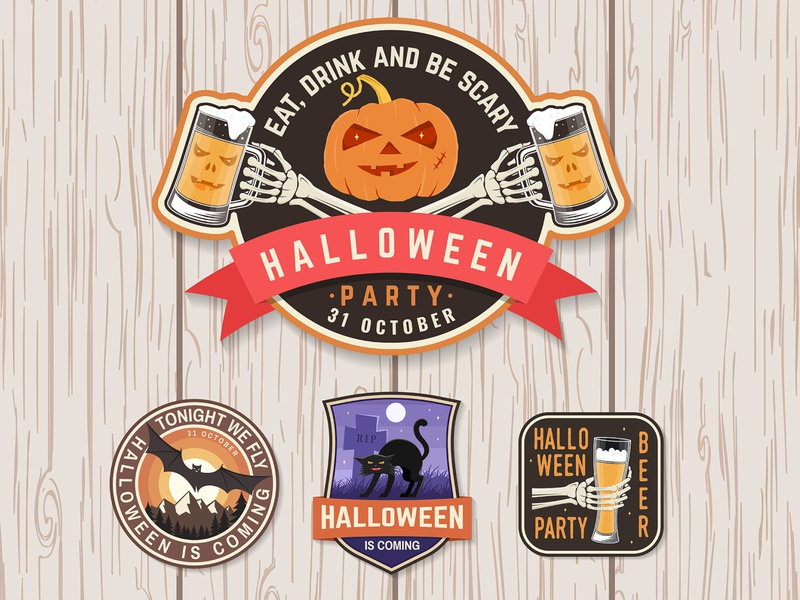 Halloween🎃 Party Patches bat skeleton pumkin beer halloween party halloween badge patch
