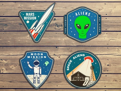 Space Adventure 🚀 Patches ufo alien space vector patch design logo adventure patch