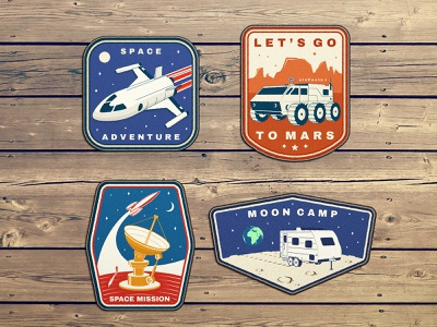 Space Adventure 🚀 Patches starship mars rover mars shuttle space camping adventure badge patch