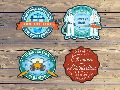 Disinfection 😷 Service Patches banner advertising logo cleaning disinfection services badge patch