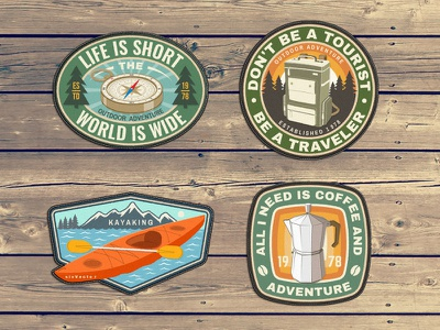 Life is Short the World is Wide logo kayaking kayak sivvector badge coffee backpack compass camp camping adventure outdoor patch