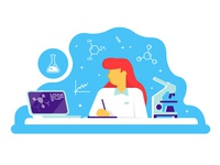 Woman working at science laboratory