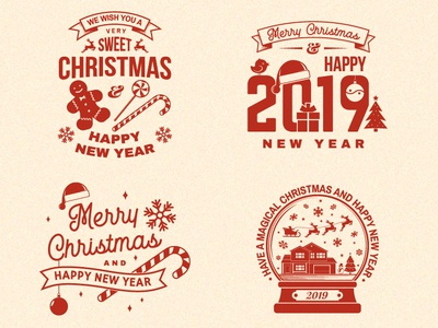 Merry Christmas and Happy New Year! new year card overlay candy sweet christmas design patch logo badge