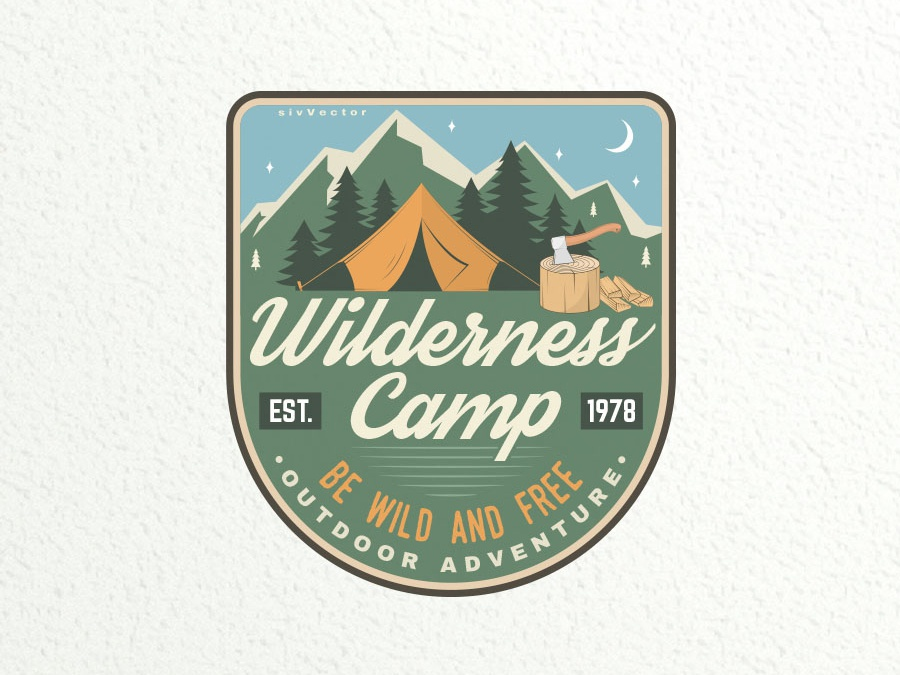 Wilderness Camp vector outdoor logo patch adventure climbing camping camp badge
