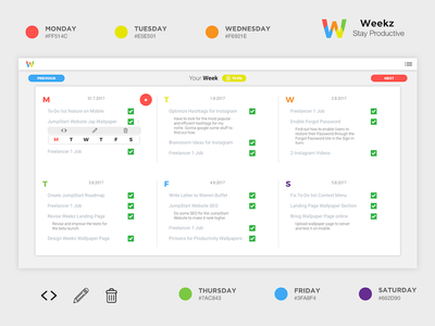 Weekz - Stay Productive hustle app productivity creativity work in progress webdesign ux ui