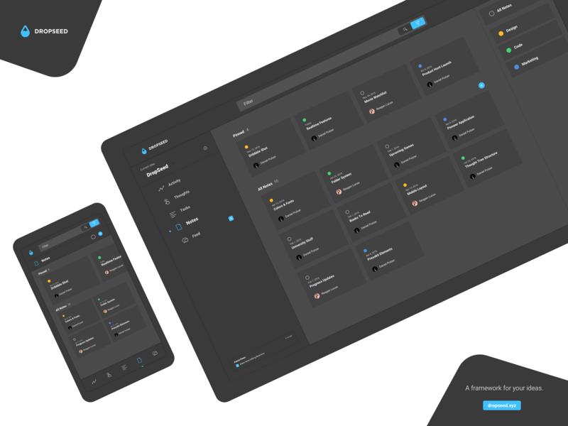 DropSeed - Notes Dark Mode dashboard flat tool creativity design desktop mobile dropseed build darkmode dark project app webapp ui