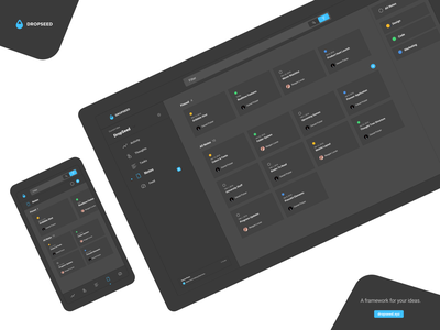 DropSeed - Notes Dark Mode dashboard flat tool creativity design desktop mobile dropseed build darkmode dark project app webapp ui