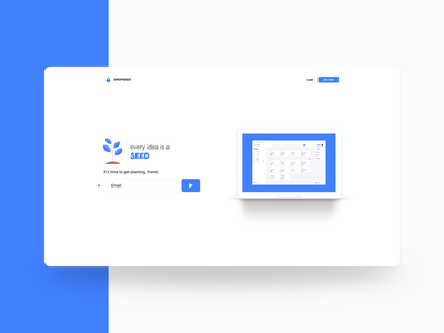 DropSeed - Landing View form field clean build flat productivity creative app webapp design work in progress dropseed blue landing page ux ui
