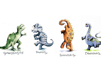 Dancing Dinosaurs pen and ink childrens book characters childrens illustration