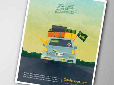 Pack up the car! magazine event higher education illustration ad