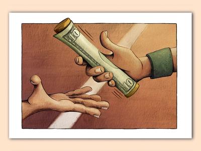 Pay it forward pen  ink editorial illustration