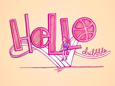 Hello Dribbble illustration lettering