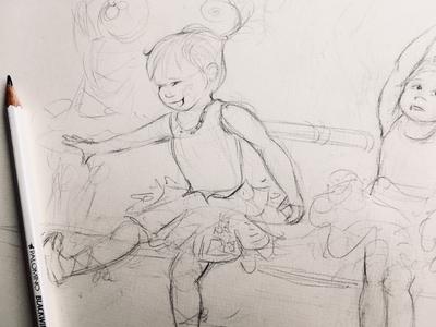 Sunday ballerina dancing illustration sketch