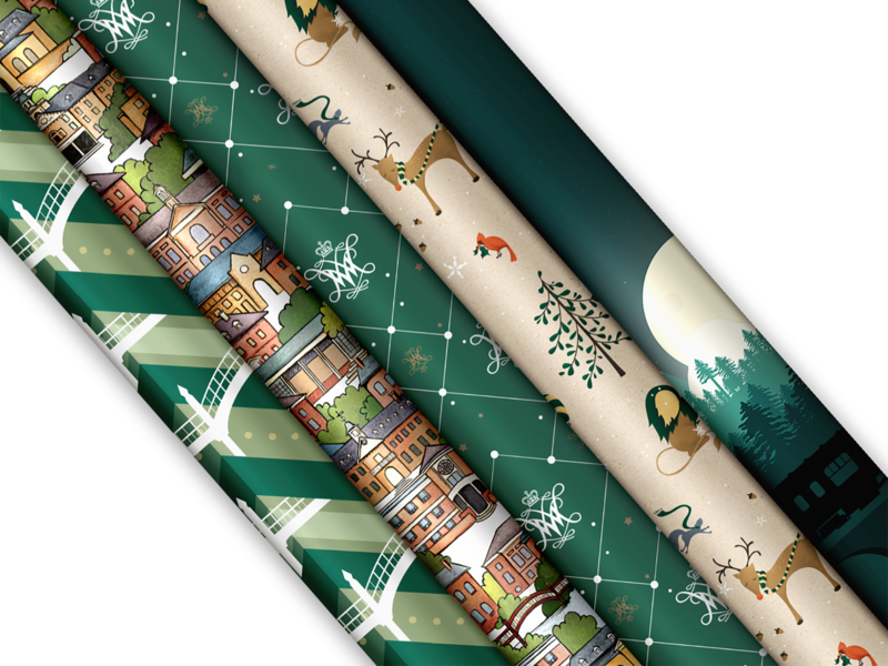 W&M Wrapping Paper set illustration