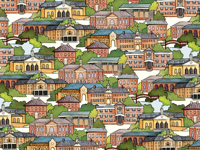 William & Mary Campus Wrapping Paper pattern college williamsburg virginia campus watercolor buildings wrapping paper illustration