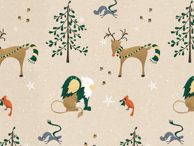 William & Mary Woodland Creature Wrapping Paper snow griffin holidays squirrel wrapping paper illustration