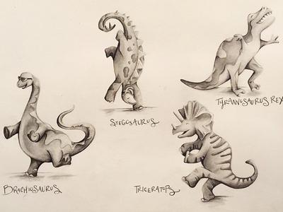 Dancing Dinosaurs! fun dinosaurs illustration drawing pen  ink childrens illustration