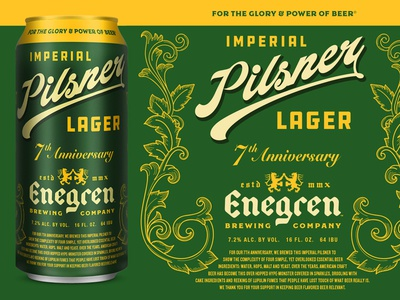 Enegren - 7th Anniversary Pilsner vintage classic european blackletter package design packaging design pilsner cans german craft beer beer