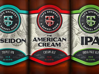 TAPS Bottle Labels label diecut taps bottle label package design packaging craft beer beer