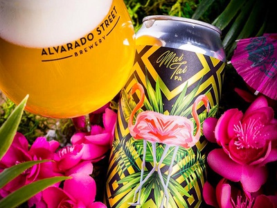 Alvarado - Double Dry Hopped Mai Tai gold tropical ipa package design can packaging craft beer beer