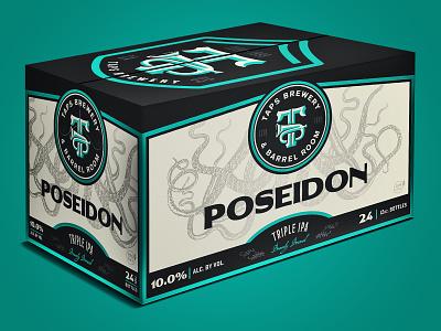 Poseidon Triple IPA - TAPS carton box octopus turqoise poseidon design ipa package design packaging craft beer beer