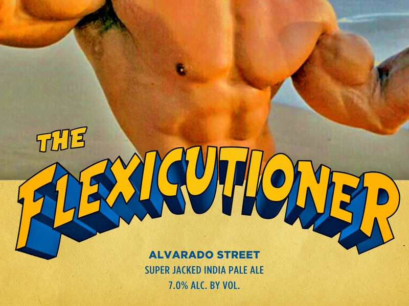 The Flexicutioner - Alvarado Street lettering typography funny muscles alvarado ipa brewery can package design packaging craft beer beer