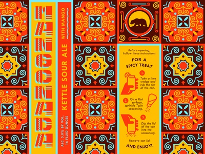 Mangonada Sour Ale - Alvarado Street sour pattern mexico mango alvarado can package design packaging brewery craft beer beer