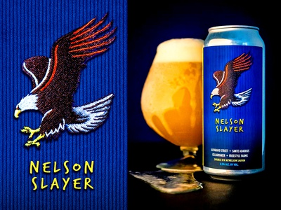Nelson Slayer - Alvarado Street patch eagle brewery alvarado ipa can package design packaging craft beer beer