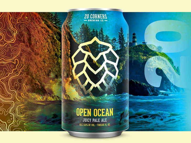 20 Corners Brewing Co - Can Concept outdoors ocean topography hop can package design packaging brewery craft beer beer