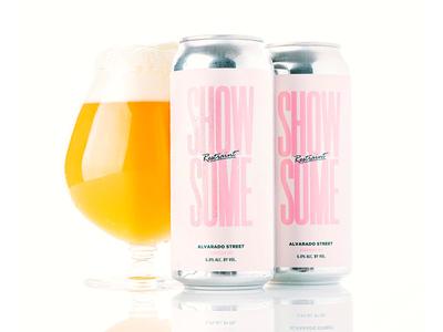 Show Some Restraint pastels pink typography brewery alvarado ipa can package design packaging craft beer beer