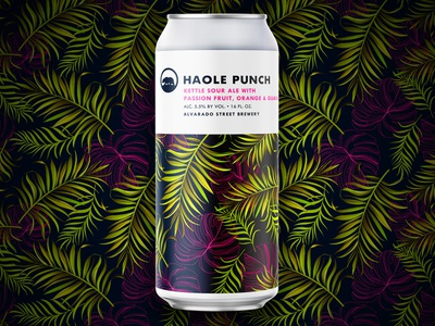 Haole Punch - Alvarado Street Brewery tropical guava orange fruit sour pattern illustration brewery alvarado can package design packaging craft beer beer