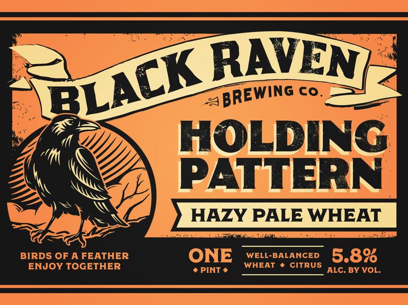 Black Raven Brewing - Holding Pattern vintage woodcut bird distressed raven black typography can package design packaging brewery craft beer beer