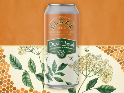 Elder Ale - Dust Bowl Brewing Company california herbal collaboration elderflower honey design brewery can package design packaging craft beer beer