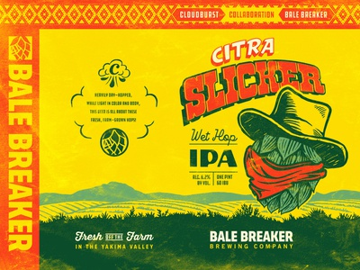 Citra Slicker - Bale Breaker + Cloudburst Brewing farm woodcut typography distressed collaboration hop cowboy western vintage brewery ipa can package design packaging craft beer beer