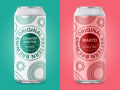 Original Pattern Brewing - Country Doctor & Marto oakland pilsner minimal simple pattern can package design packaging craft beer beer