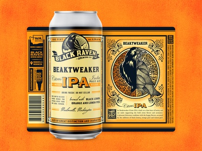 Black Raven - Beaktweaker Citrus IPA washington vintage citrus orange cubism raven brewery ipa can package design packaging craft beer beer
