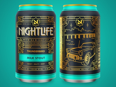Nightlife Brewing - Thunderbird monoline thunderbird miami art deco illustration branding gold brewery can package design packaging craft beer beer