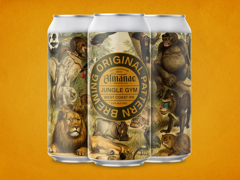 Original Pattern + Almanac - Jungle Gym gold california west coast animals illustration vintage brewery ipa can package design packaging craft beer beer