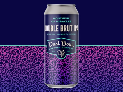Mouthful of Miracles - Dust Bowl Brewing Co. brut pattern gradient brewery ipa can package design packaging craft beer beer