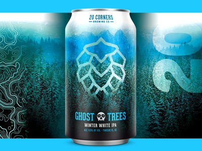 20 Corners - Ghost Trees northwest pnw snow outdoors hop topographic topography nature trees ghost brewery ipa can package design packaging craft beer beer