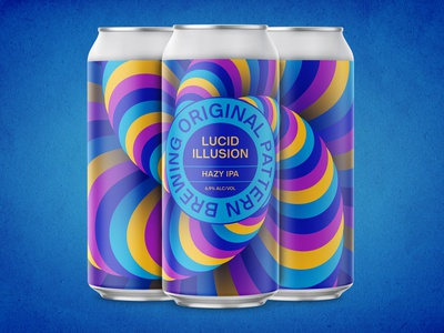 Original Pattern - Lucid Illusion illusion california oakland hazy pattern brewery ipa can package design packaging craft beer beer