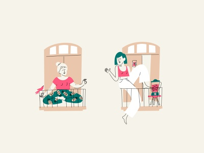 Stay Home life healthcare illustration balcony stayhome simple girls line character vector