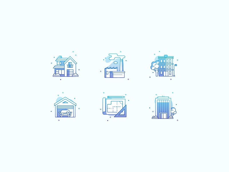 Real Estate illustrator industrial apartment villa garage vector color gradient icons real estate
