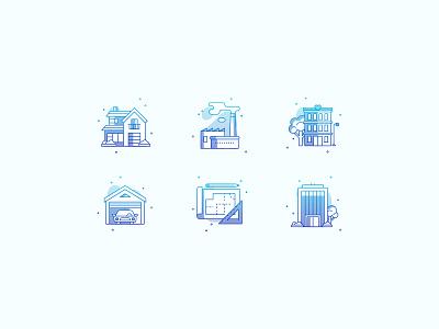 Real Estate illustrator industrial apartment villa garage vector color gradient icons real estate