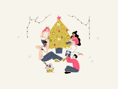 Merry Christmas! holiday lines color vector character illustration people xmas christmas